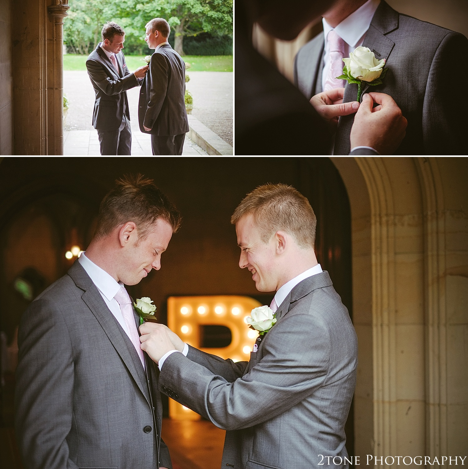 Groom getting ready.  Matfen Hall by Durham based wedding photographers 2tone Photography