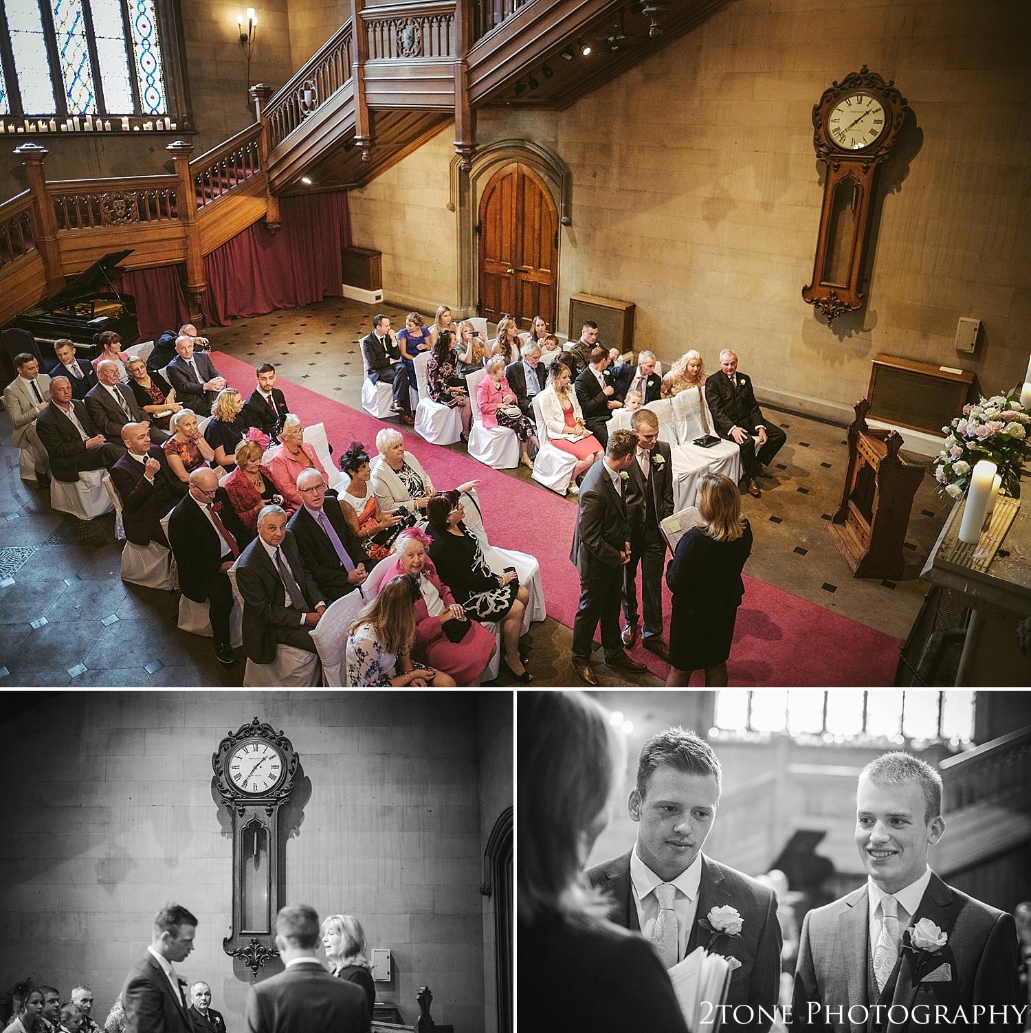 The Great Hall wedding ceremony.  Matfen Hall by Durham based wedding photographers 2tone Photography