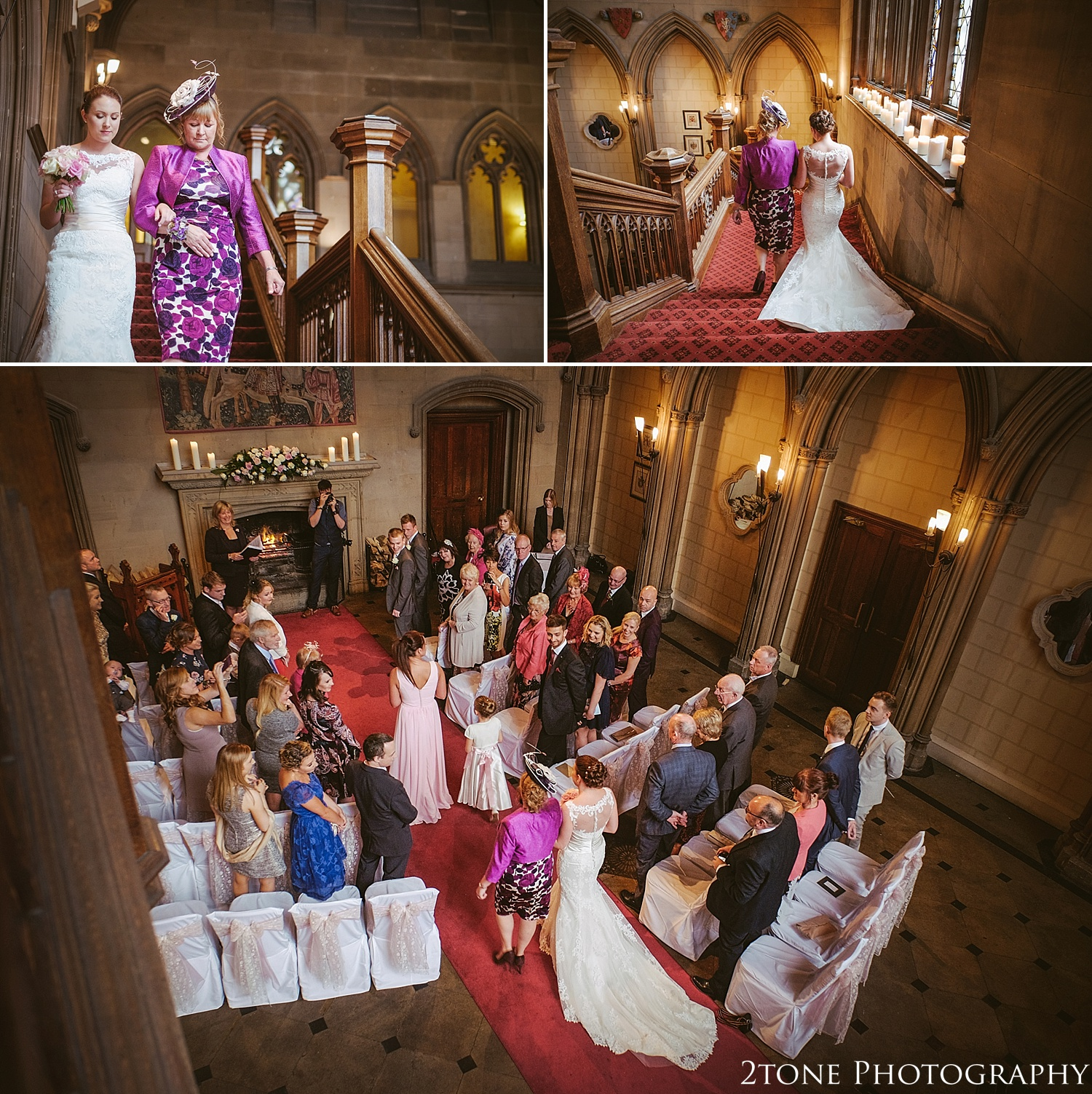Wedding ceremony in the great Hall at Matfen Hall.  Matfen Hall by Durham based wedding photographers 2tone Photography