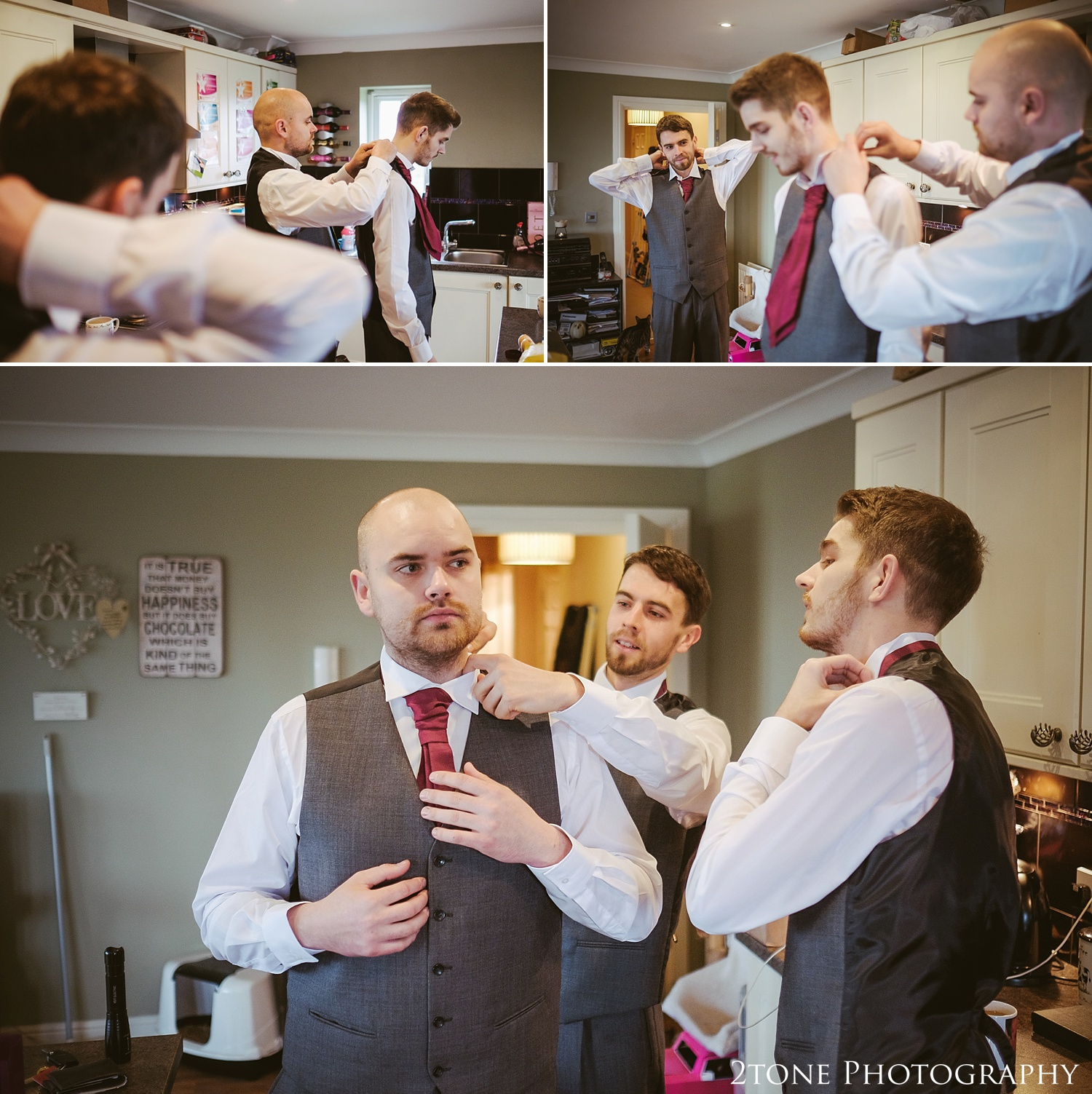 The groom getting ready.  Weddings at the Vermonth Hotel by wedding photographers 2tone Photography www.2tonephotography.co.uk