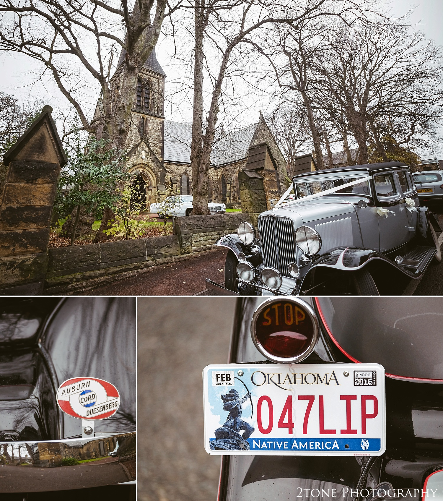 American vintage wedding car.  Weddings at the Vermonth Hotel by wedding photographers 2tone Photography www.2tonephotography.co.uk
