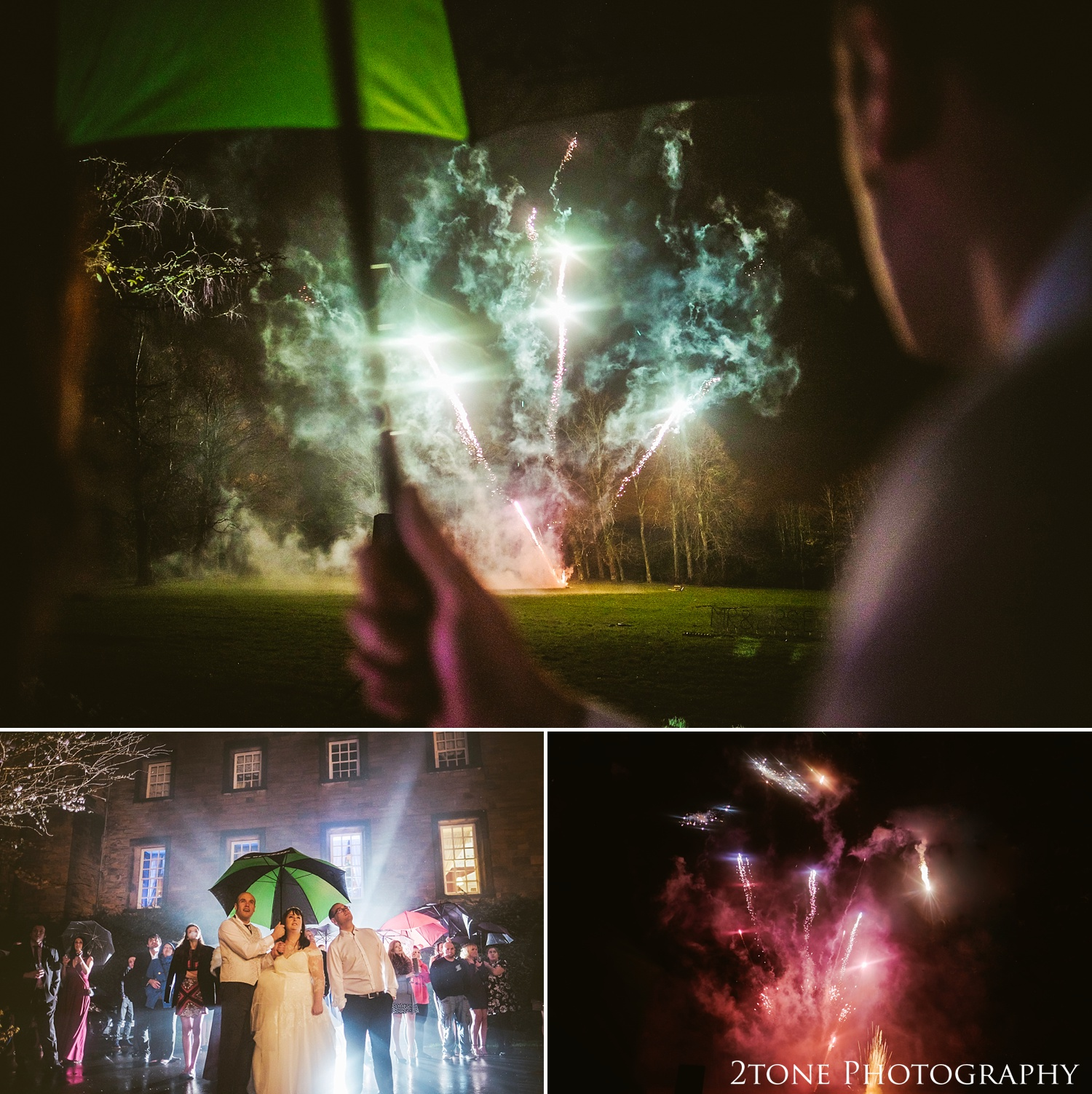 Fireworks.  Wedding photography at Lumley Castle by Durham photographer 2tone photography www.2tonephotography.co.uk