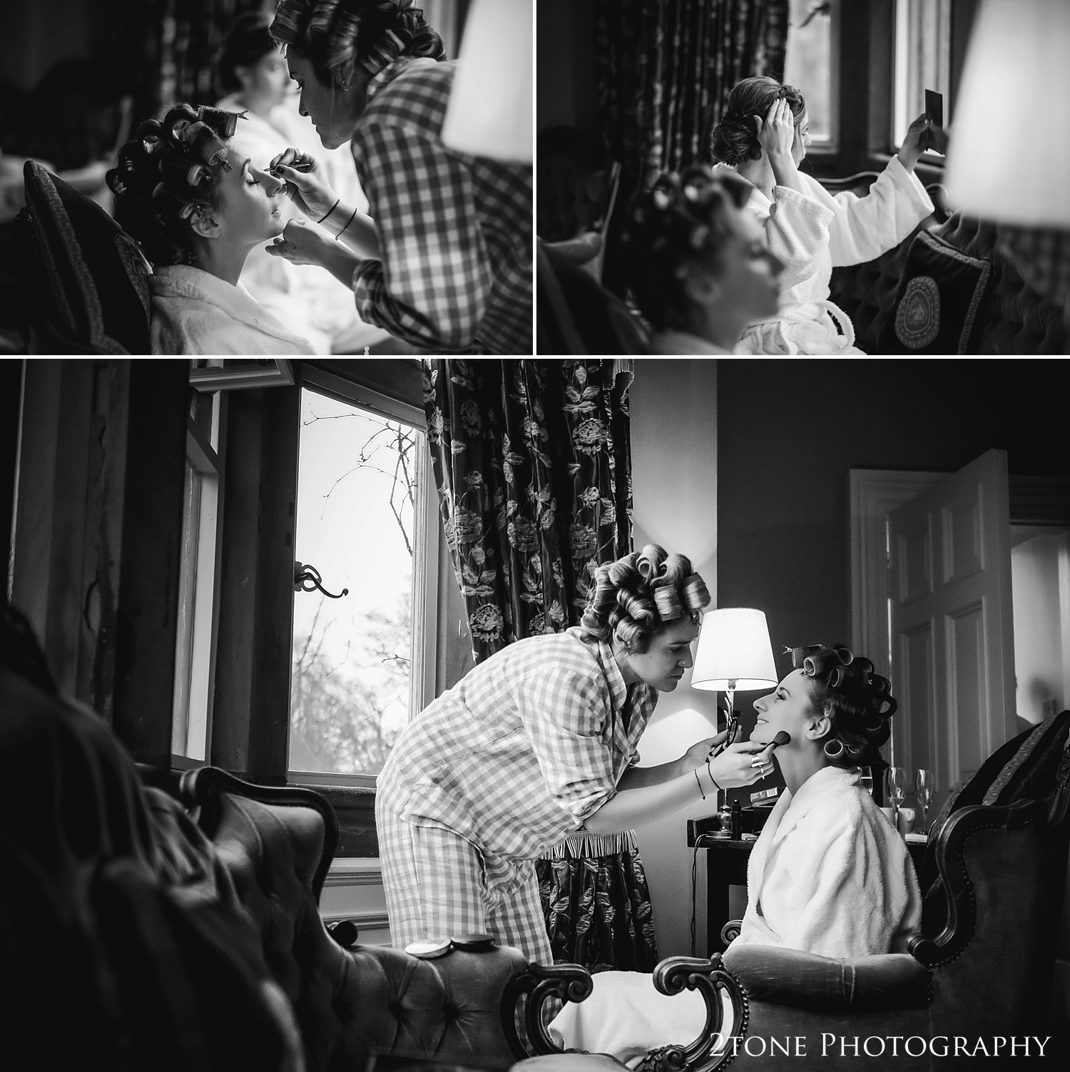 The bride getting ready at Ellingham Hall. Winter wedding photography by www.2tonephotography.co.uk