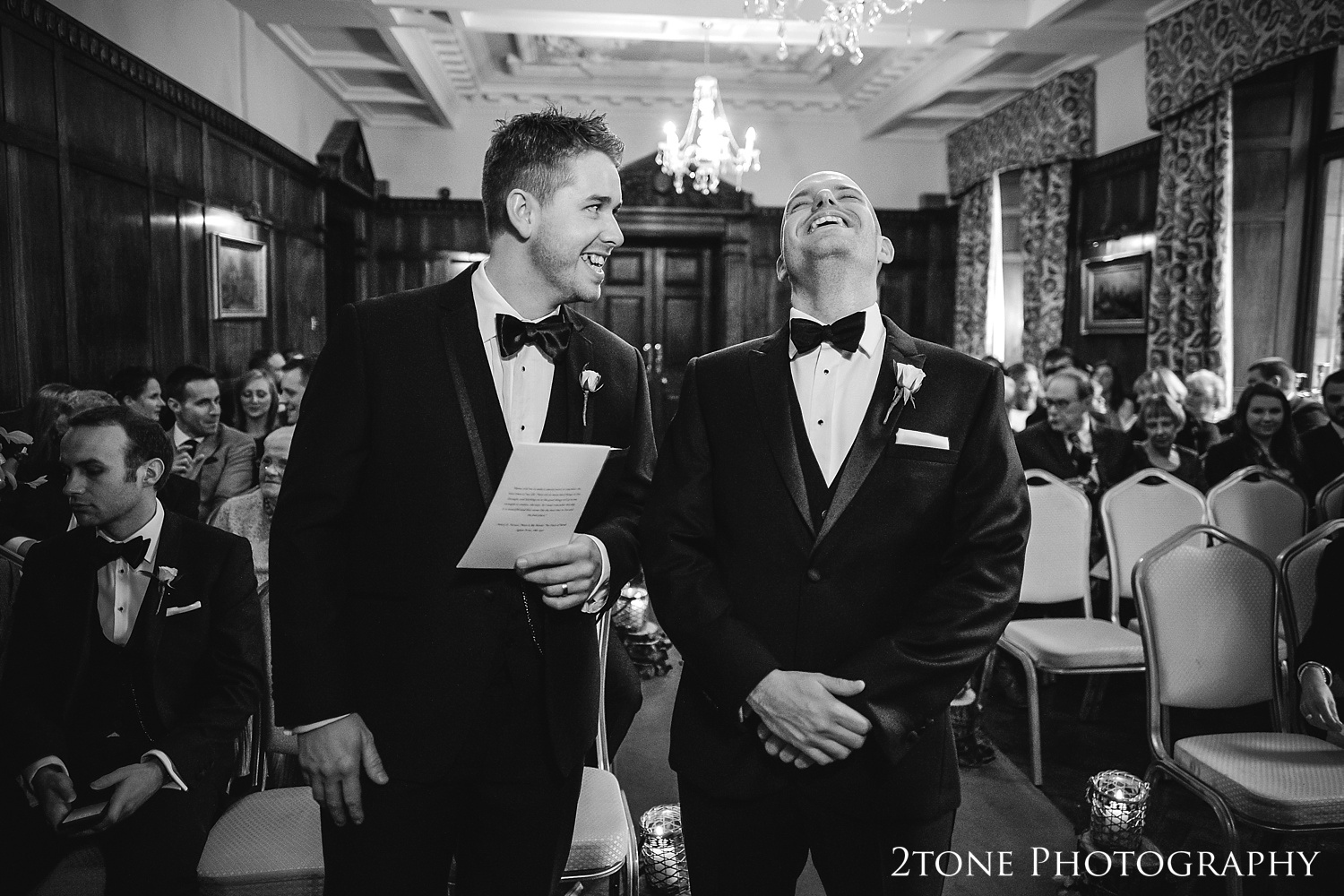 The groom waiting for the ceremony to begin at Ellingham Hall. Winter wedding photography by www.2tonephotography.co.uk