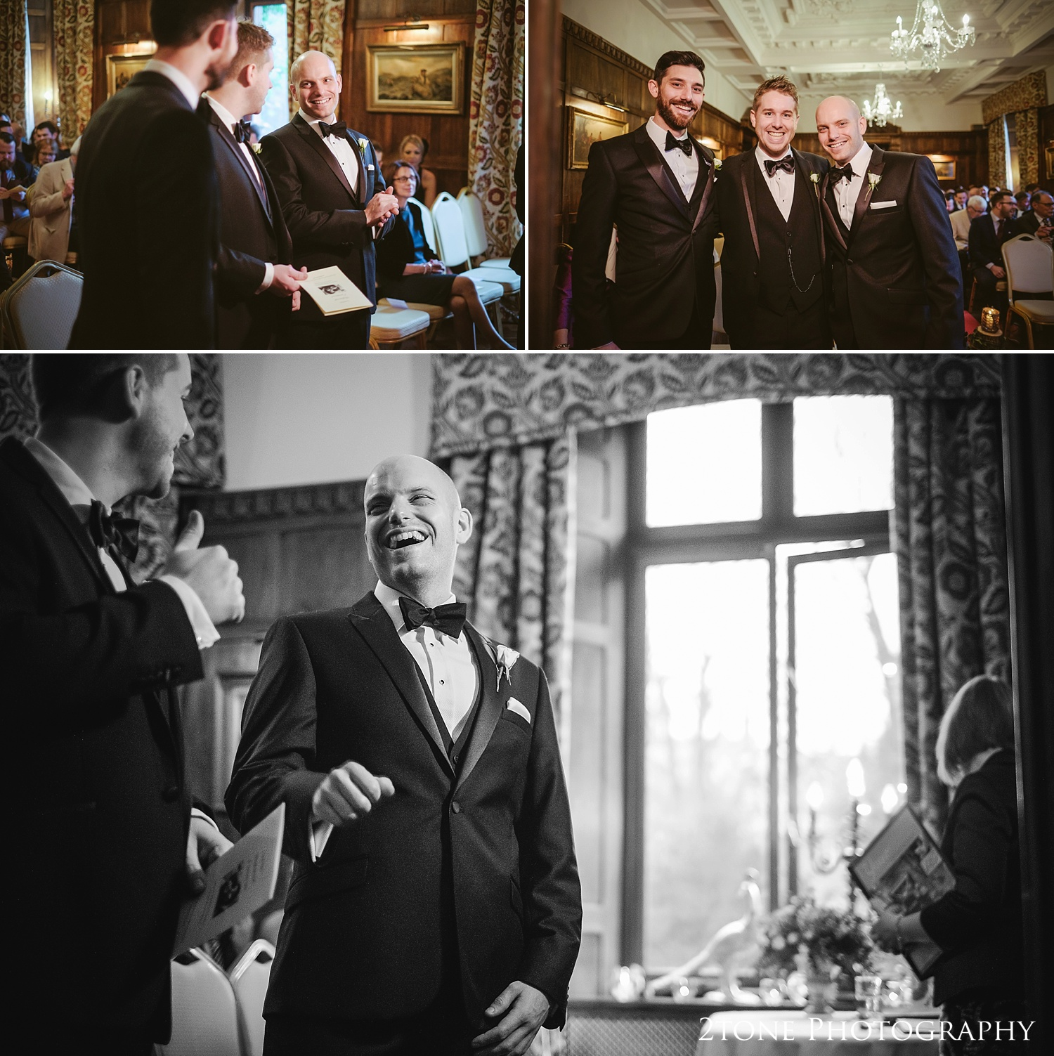The groom at the start of the ceremony at Ellingham Hall. Winter wedding photography by www.2tonephotography.co.uk