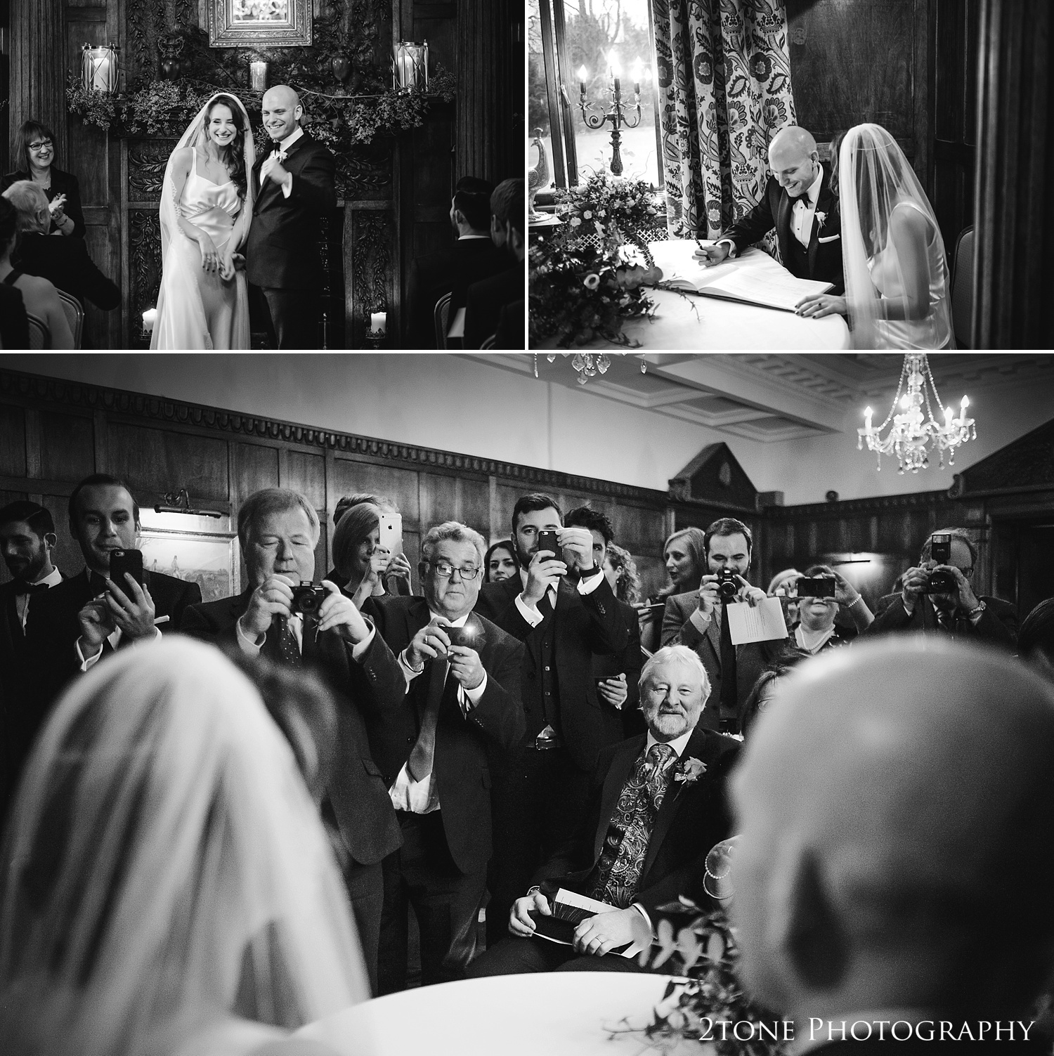 Signing the register at Ellingham Hall. Winter wedding photography by www.2tonephotography.co.uk