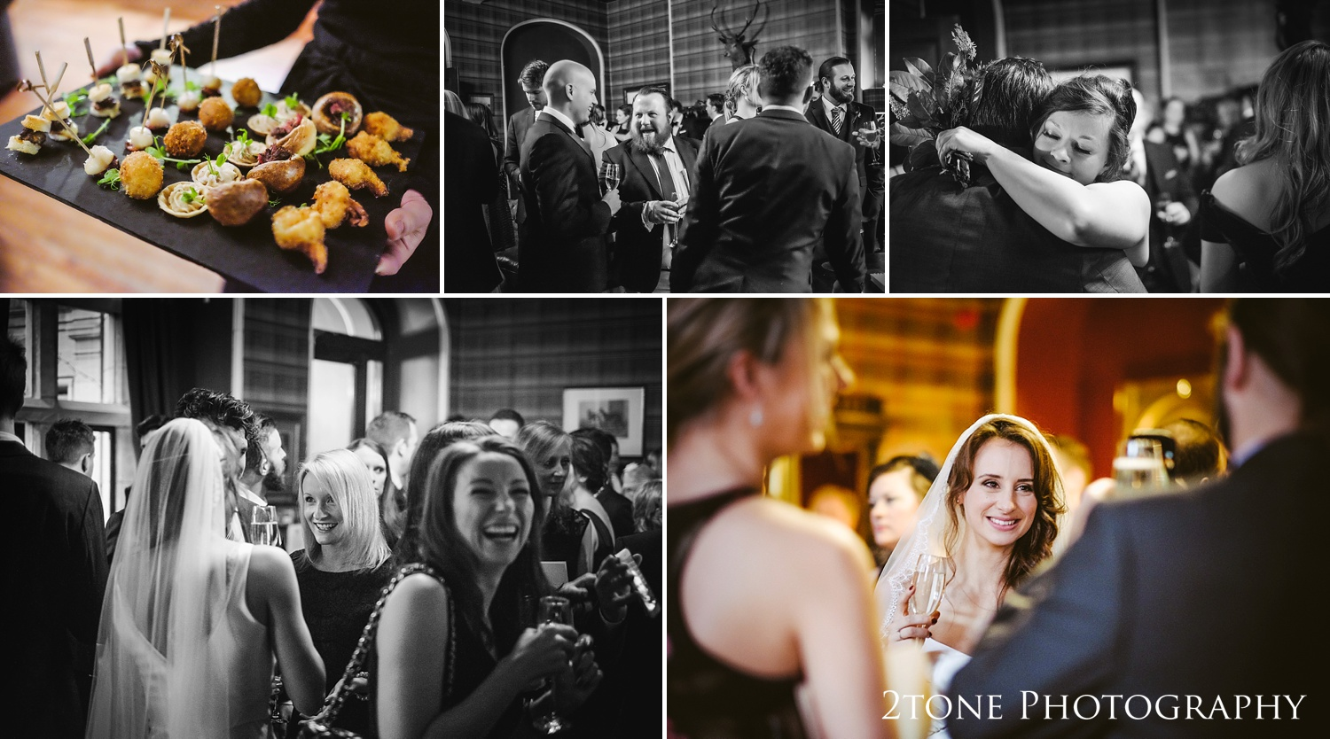 Wedding guests at at Ellingham Hall. Winter wedding photography by www.2tonephotography.co.uk
