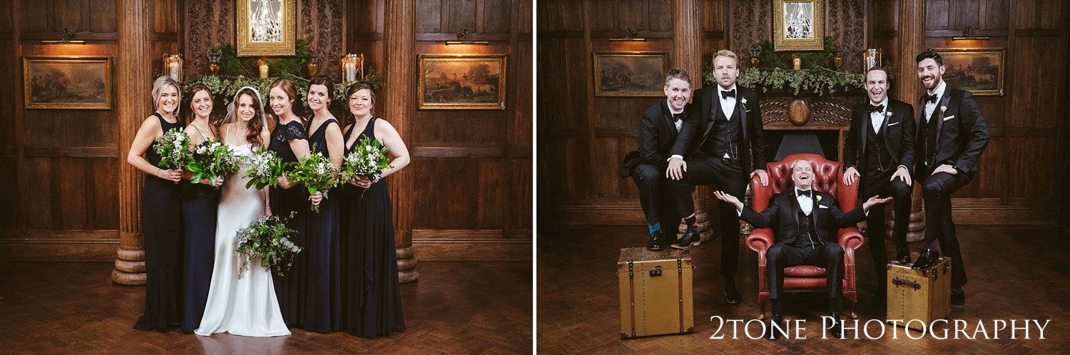 The bridesmaids and groomsmen at Ellingham Hall. Winter wedding photography by www.2tonephotography.co.uk