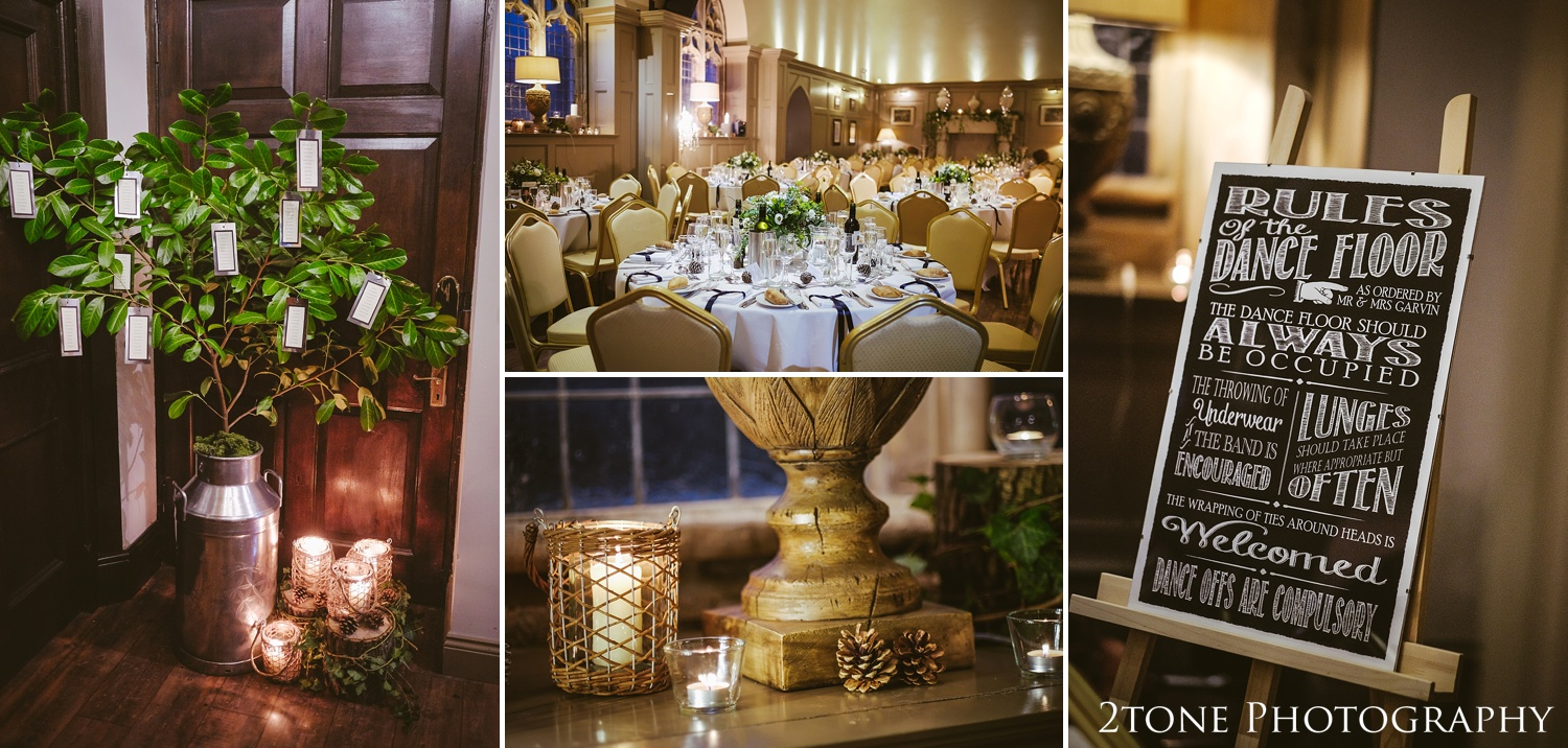 Wedding room details at Ellingham Hall. Winter wedding photography by www.2tonephotography.co.uk