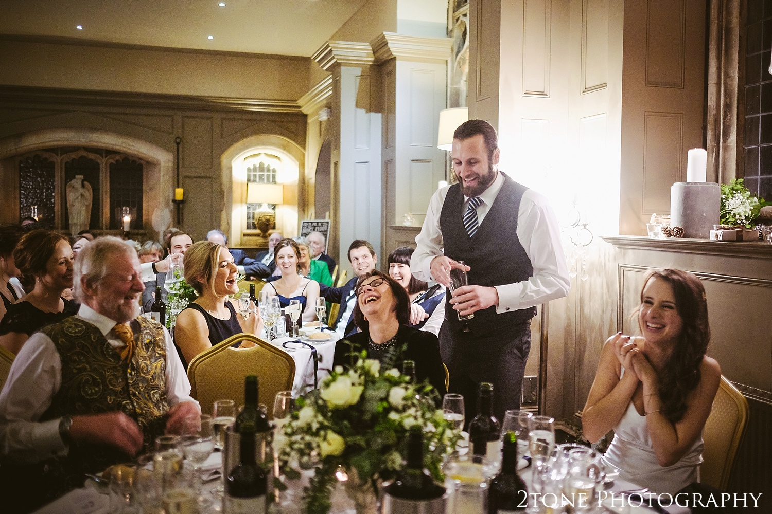 Wedding speeches at Ellingham Hall. Winter wedding photography by www.2tonephotography.co.uk