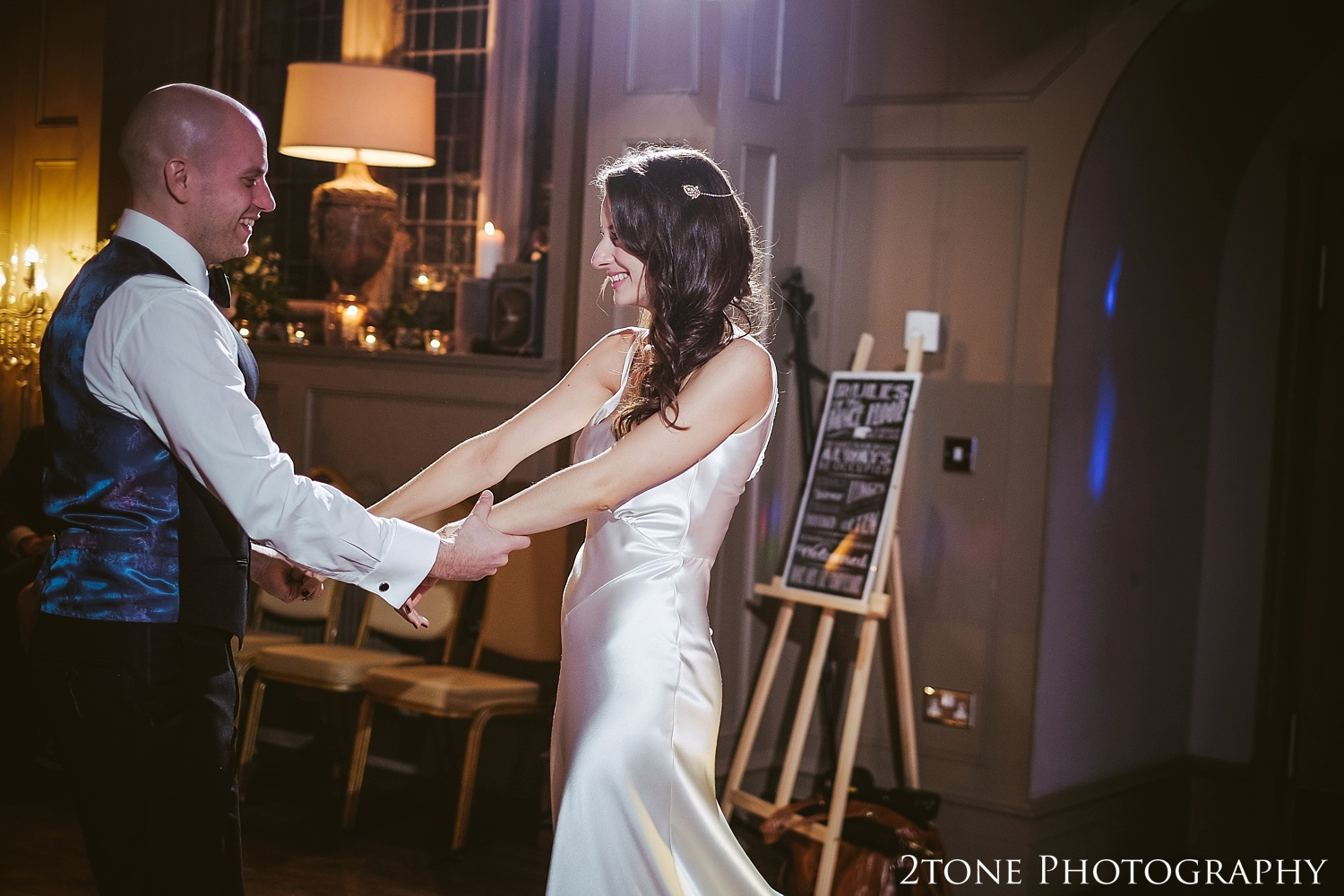 Wedding first dance at Ellingham Hall. Winter wedding photography by www.2tonephotography.co.uk
