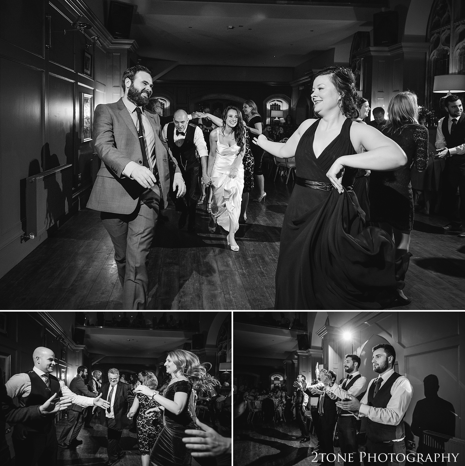 Wedding Cèilidh dance at Ellingham Hall. Winter wedding photography by www.2tonephotography.co.uk