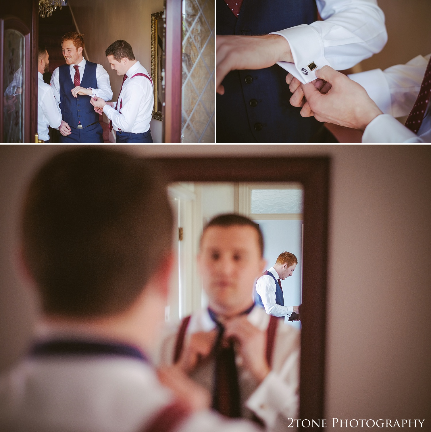 Groom's preparations.  Wedding photography in Somerset by husband and wife team 2tone Photography ww.2tonephotography.co.uk