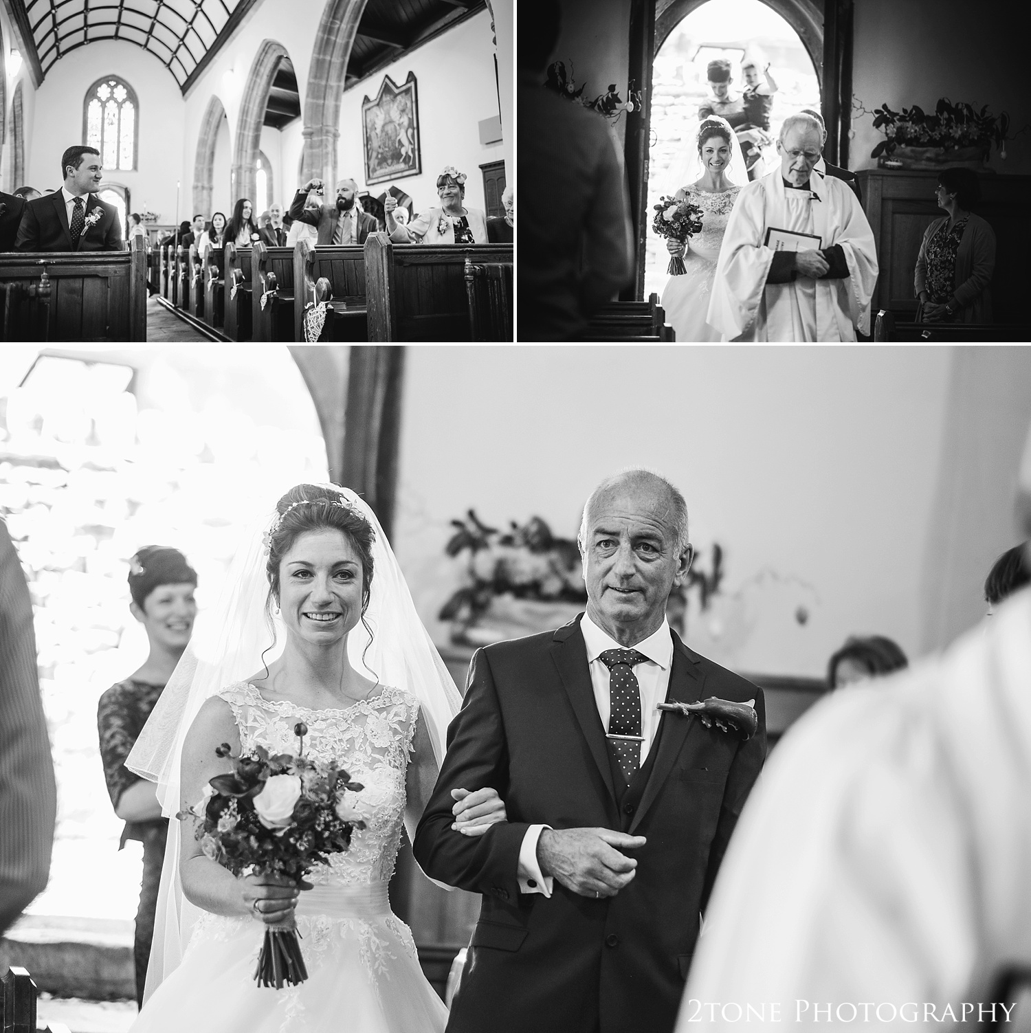 The arrival of the bride.  Wedding photography in Somerset by husband and wife team 2tone Photography ww.2tonephotography.co.uk