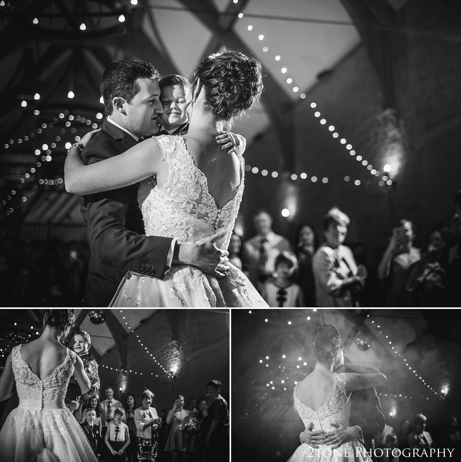 The bride and groom's first dance at Haselbury Mill and the Old Tythe Barn in Somerset by www.2tonephotography.co.uk