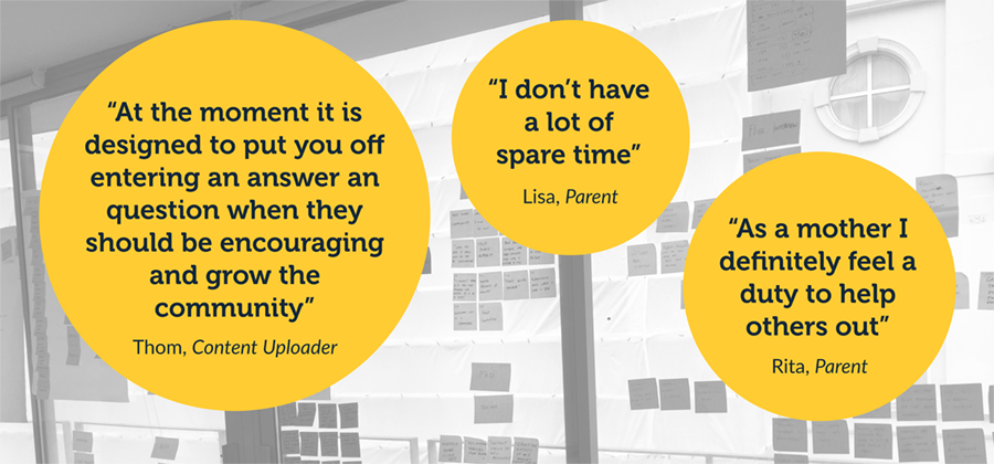 User testing quotes with the current site