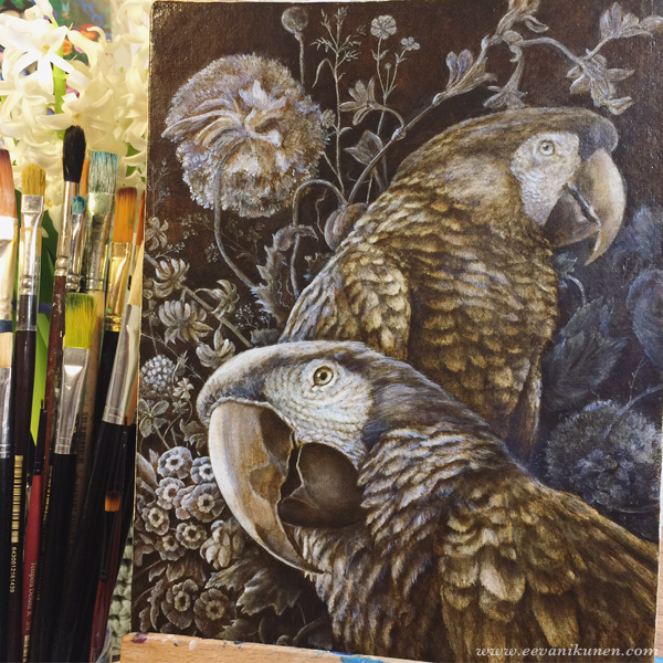 This underpainting was painted with Raw Umber and Zinc White oil paints on a Fredrix Belgian linen canvas board.