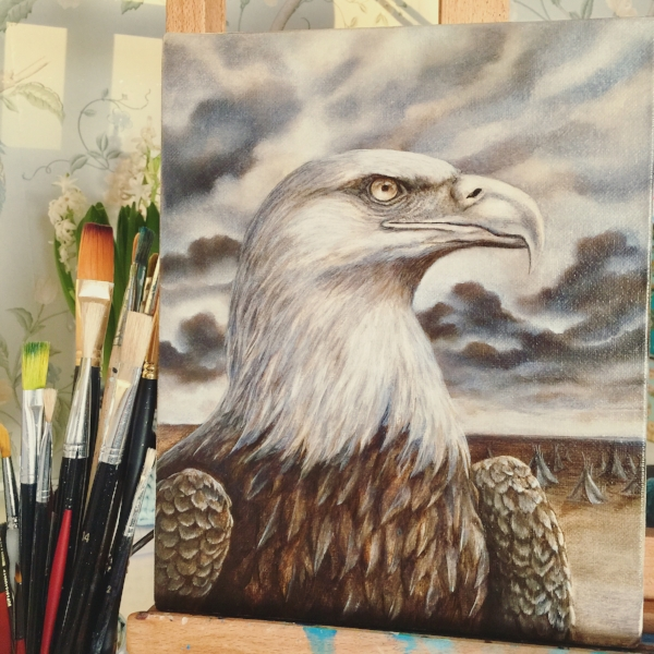 Here is the underpainting for 'Guardian Spirit' I painted by using raw umber and zinc white.