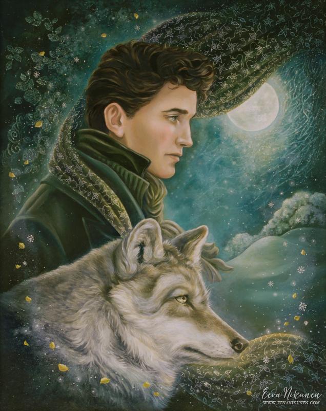 Fantasy art wolf painting. Copyright © Eeva Nikunen 2019. All rights reserved.