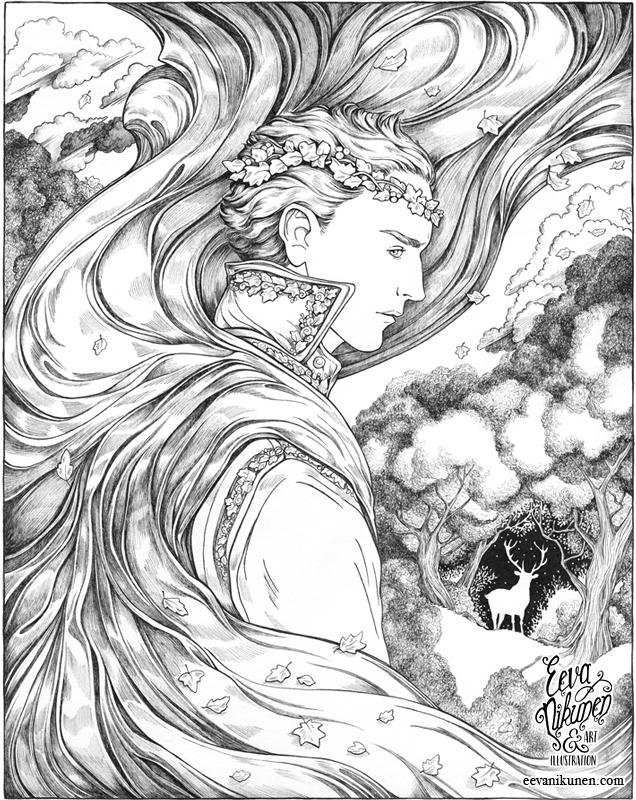 The Autumn Prince. Fantasy Art. Copyright © Eeva Nikunen 2019. All rights reserved.