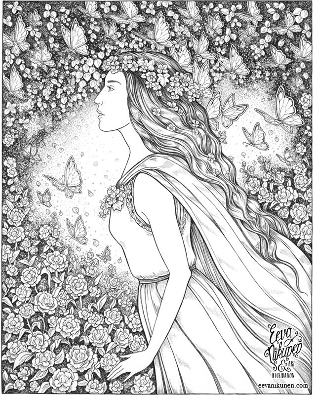 The Summer Queen. Fantasy Art. Copyright © Eeva Nikunen 2019. All rights reserved.