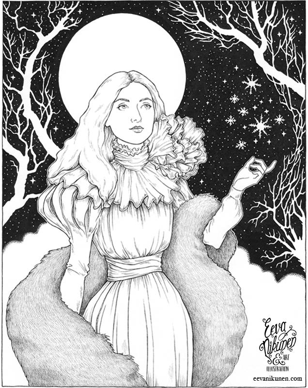 The Snow Queen. Fantasy Art. Copyright © Eeva Nikunen 2019. All rights reserved.