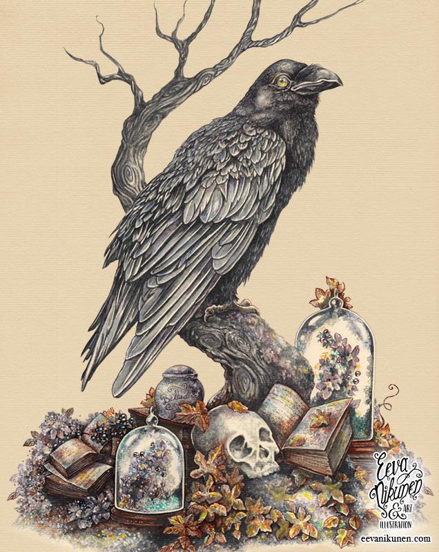 Raven Painting. Victorian Fantasy Art. Copyright © Eeva Nikunen 2019. All rights reserved.