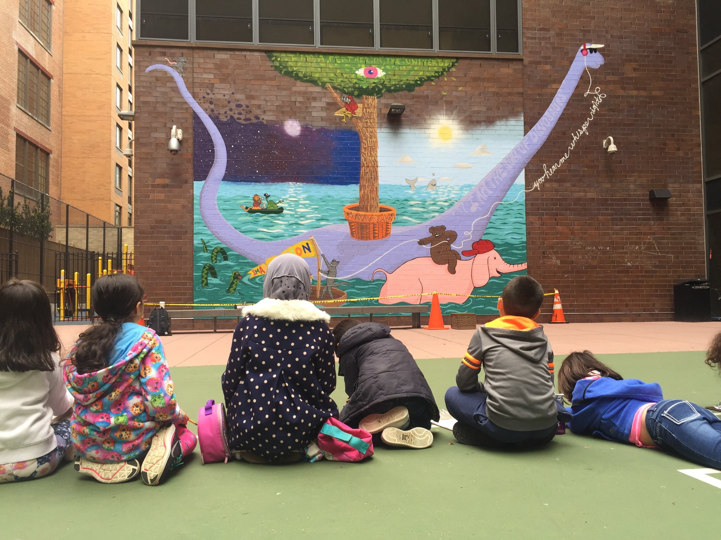 2nd grade students at PS 51 in Manhattan writes poems in response to the freshly completed mural by artist, Nick Kuszyk. Spring 2018.
