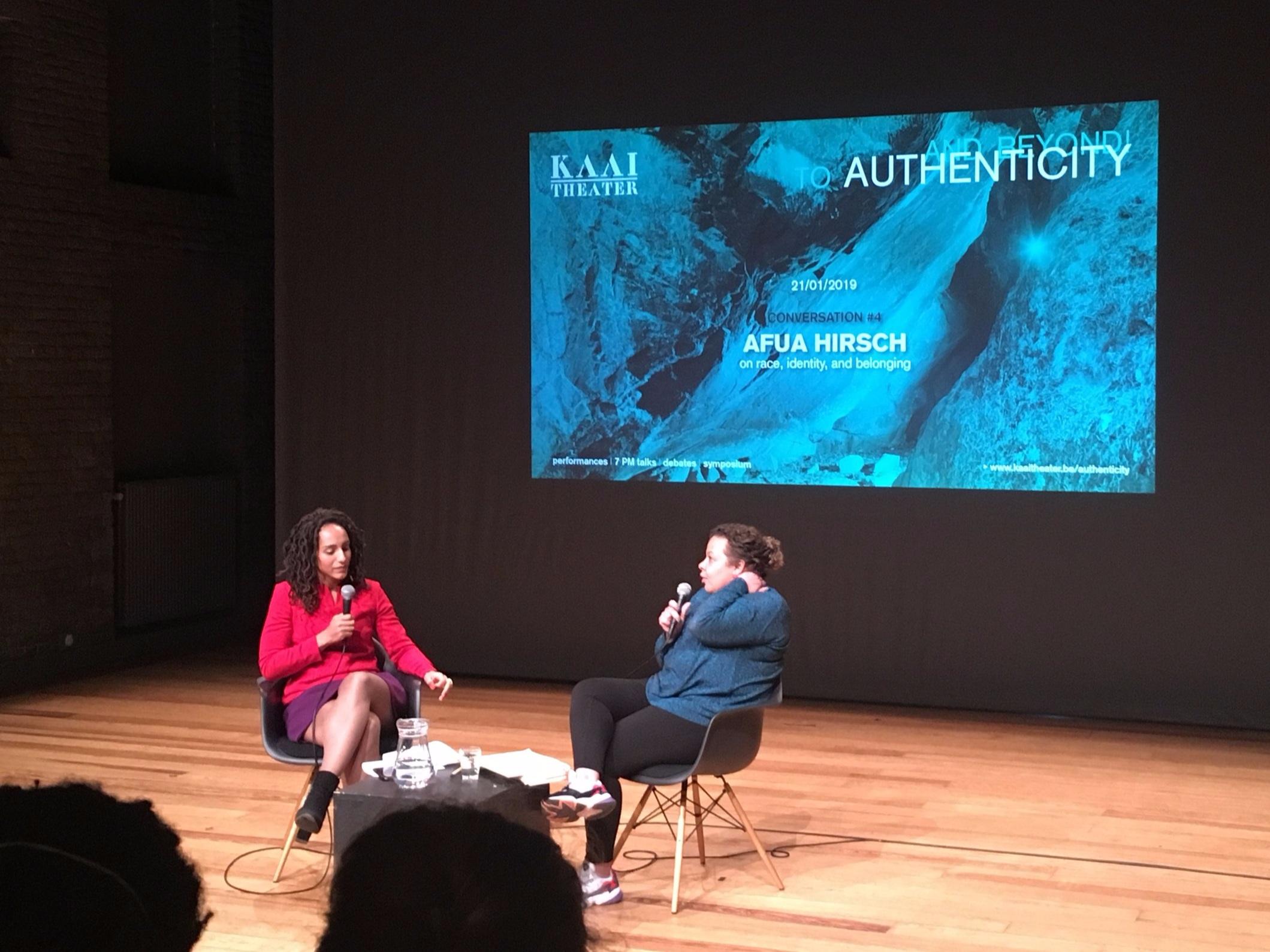 Afua Hirsch in conversation with Heleen Debeuckelaere .