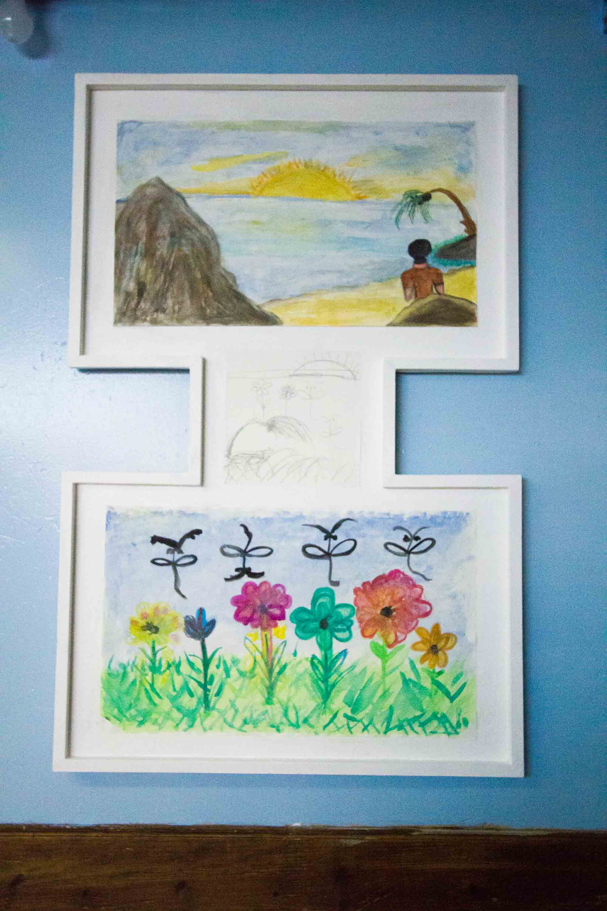 The final drawings for Karen (B) and Evelyn (T). The smaller drawing was made by the two artists together while they each held the same pencil.