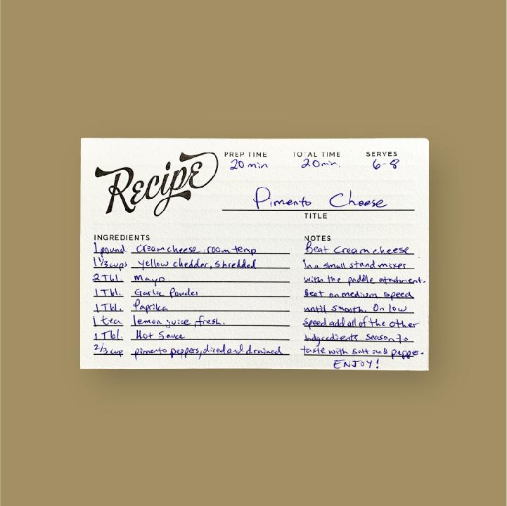 written on our letterpress  Recipe Cards ,  $18