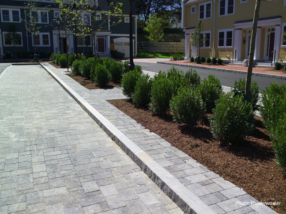 Twenty units of affordable housing were constructed on the former DPW site in downtown Newburyport. The townhouses are organized around a circular driveway, which forms a cul-de-sac. The center is landscaped with shade trees, shrubs, decorative streetlights and bike racks. Each unit has granite entry steps and a rear patio and garden. Brick sidewalks, granite curbs, and cobblestone parking areas help integrate the new development with its historic surroundings.