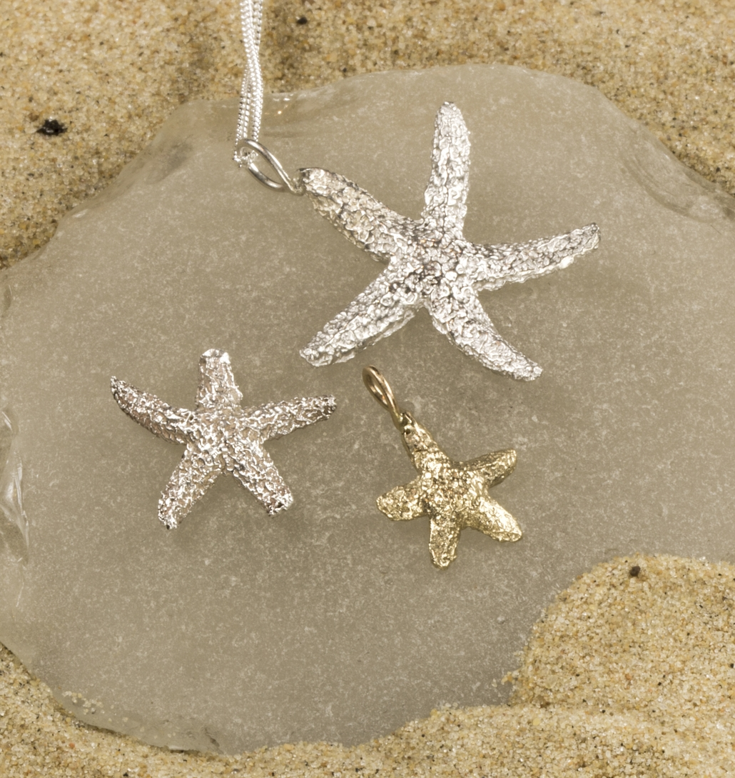 """Starfish"" pendants,  Available in Small Medium and Large , in 14k gold and silver molded from actual dried starfish found on Outer banks beaches"