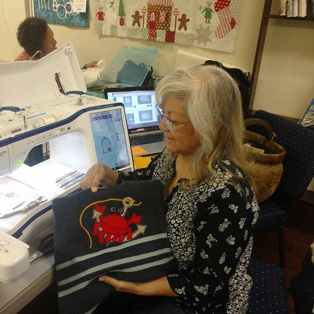 Come visit Pamala at the shop today and see some projects for our embroidery club!