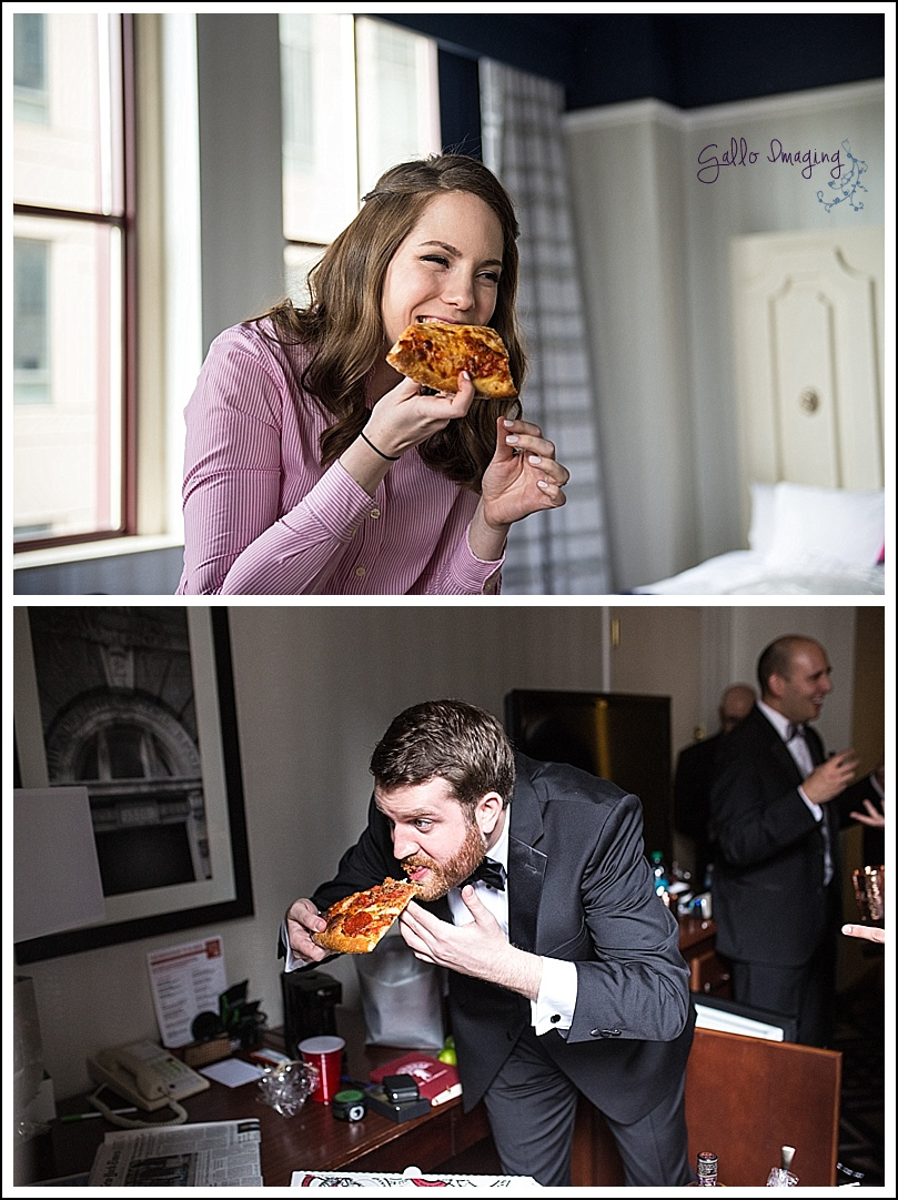 After the prep was over and we were on our way to the first look location, I found out that both my second photographer and I captured our couple eating a slice of pizza before they saw each other the first time on their wedding day!!!!