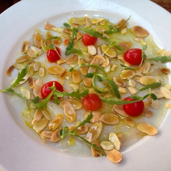 Long Island fluke, pickled tomatoes, almonds andmanni olive oil -- phenomenal, but light/small....