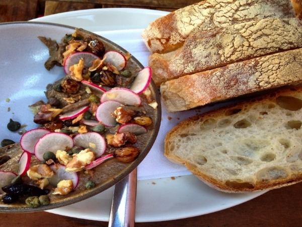 Tuscan chicken liver, balsamic raisins, capers & walnuts-- it's always sensational!