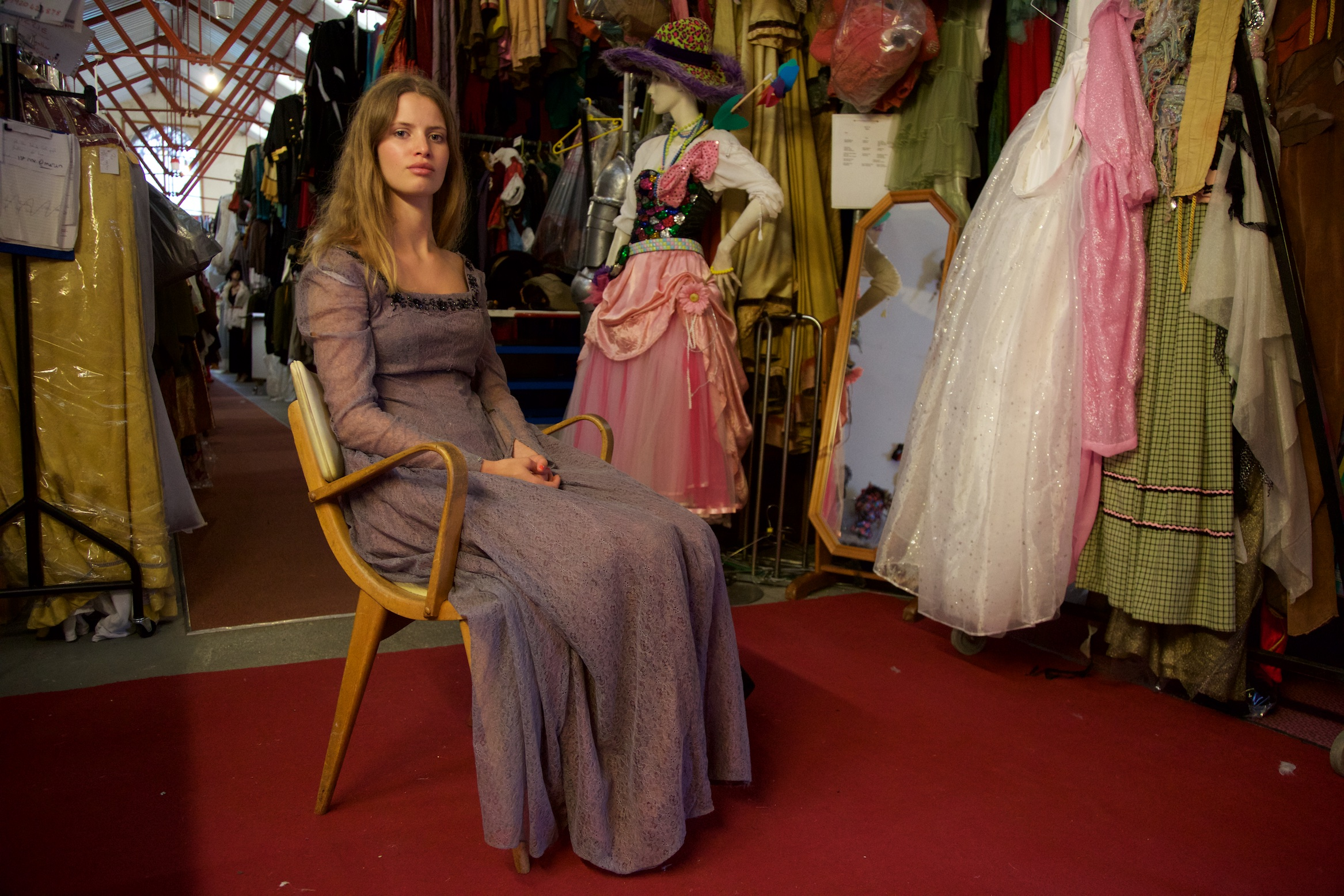 Angelica our model in distinctly more sane environs at Bath Theatrical Costume Hire prior to the shoot.