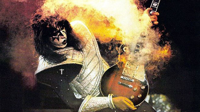Kiss' Ace Frehley.. with his Gibson Les Paul with a smoke bomb inside. A man after my own heart!