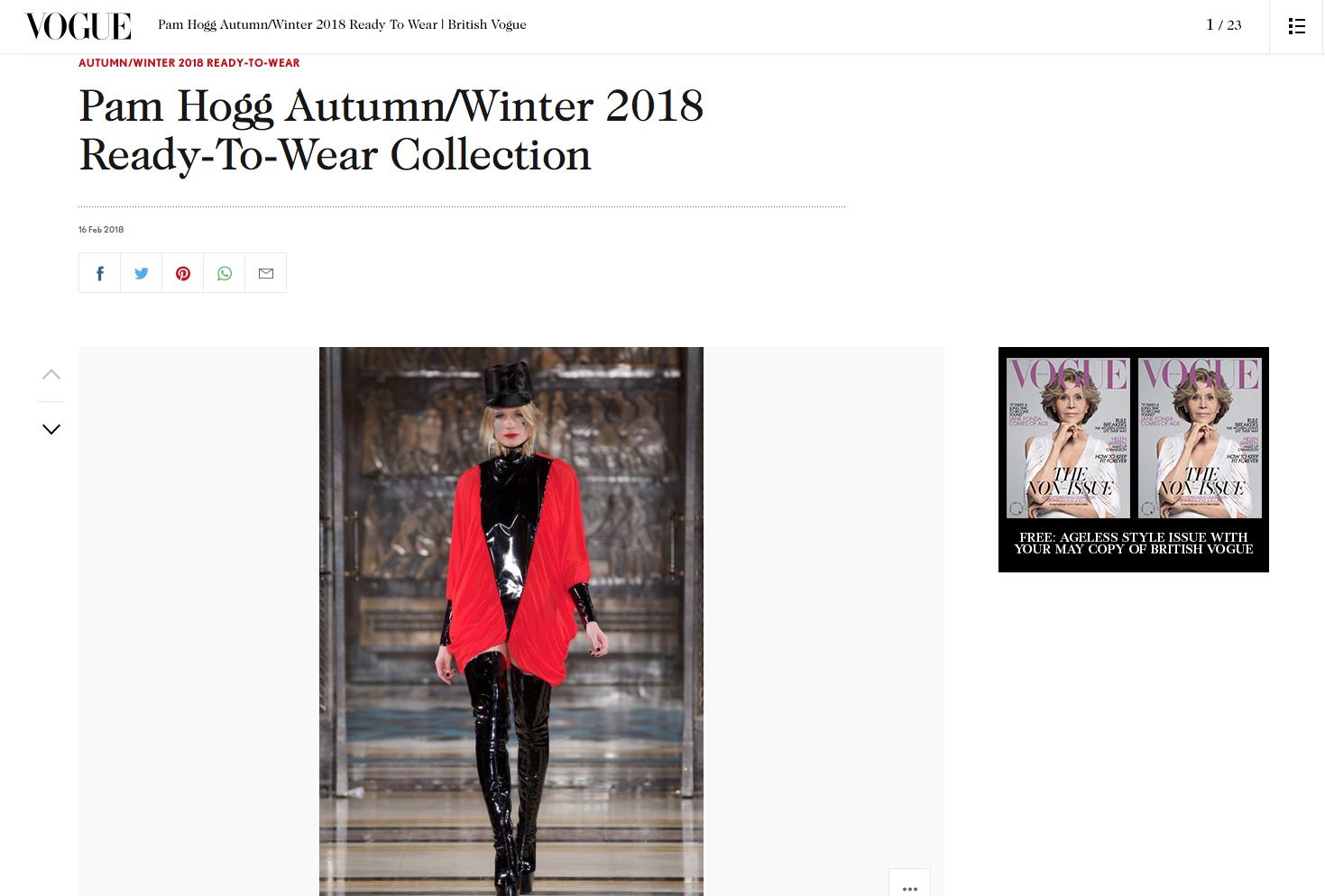 Pam Hogg Autumn Winter 2018 Vogue