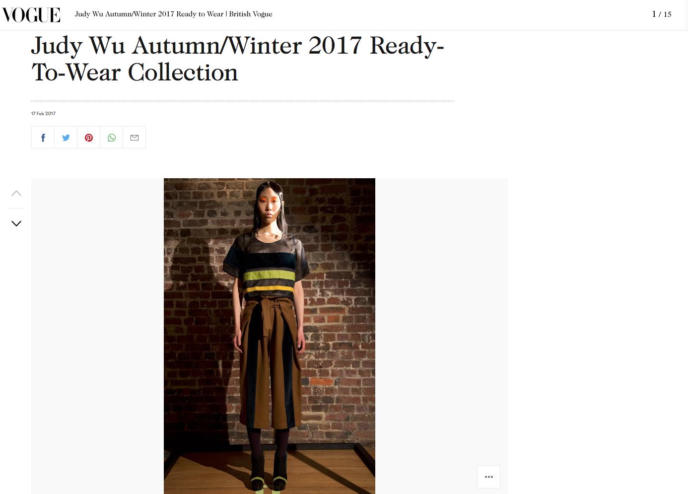 Judy Wu Autumn Winter 2017 Vogue