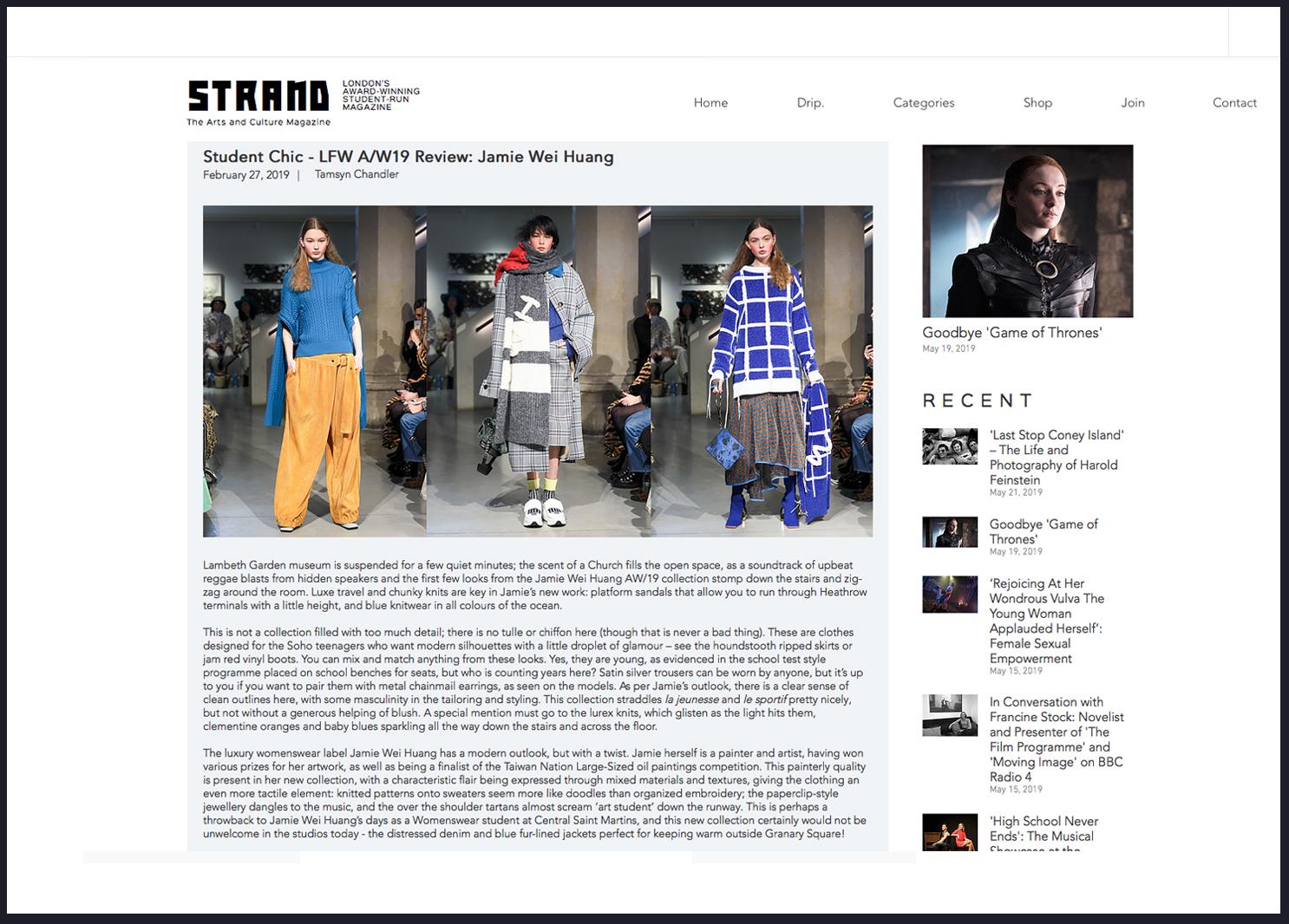 Strand Magazine Jamie Wei Hung A/W 2019