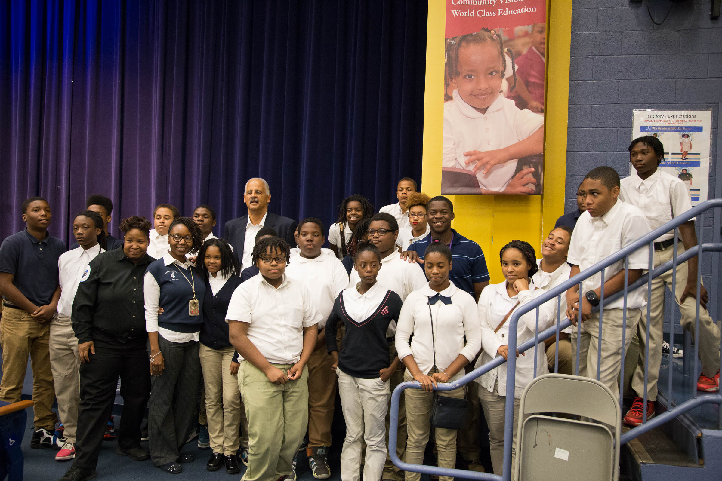 Picture of Graham with Blow- Pierce students. Taken byKhaleel Etheridge.