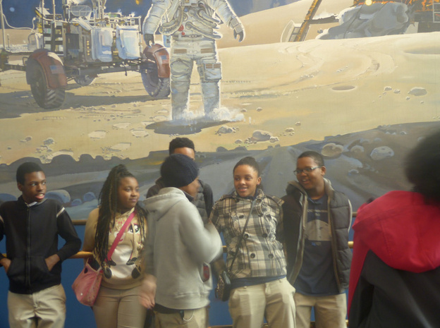 Seventh and eighth grade Robotic Stars 2.0 team take time to look around and enjoy the moment. They are D' Angelo Parker, Aaron Spruill, Brison Dempsey ,Jania Yard, Aniaya Wallace, Gregory Granberry, Deja Pinkney, Jayson Green and Matthew Walden Taylor.