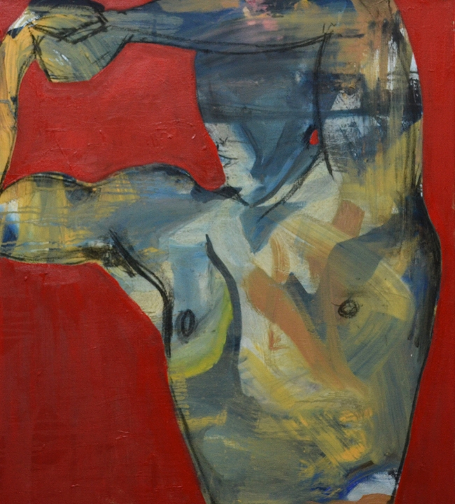 Figure with red background II, 2018