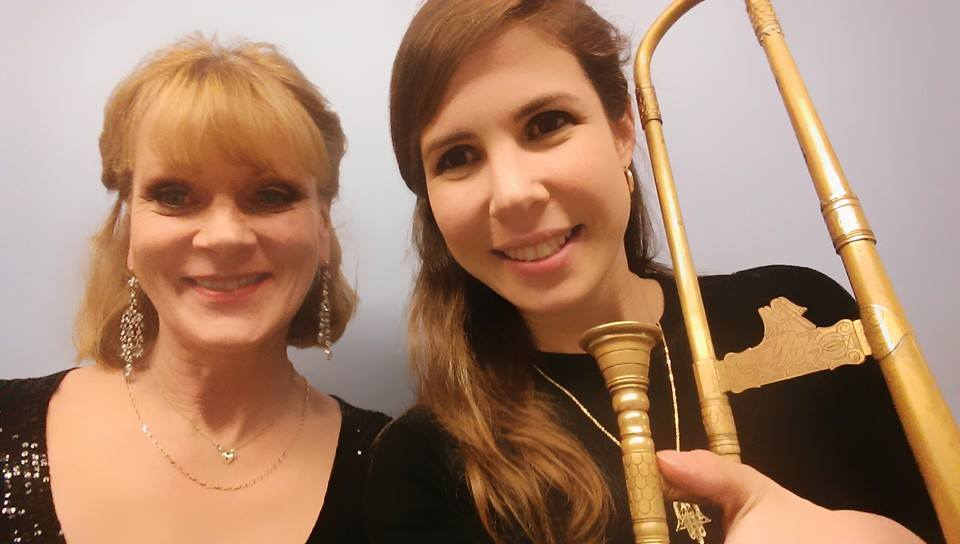 "A trombone ""selfie"" with Samantha Bond, after the performance of Shakespeare's ""Merchant of Venice"" at Strathmore Hall in Washington, DC"