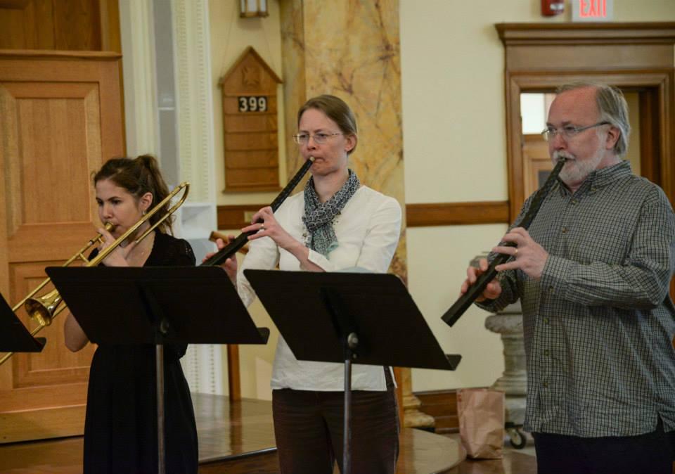 Cornetts and sackbut in Minneapolis for a performance of Monteverdi's Vespers.