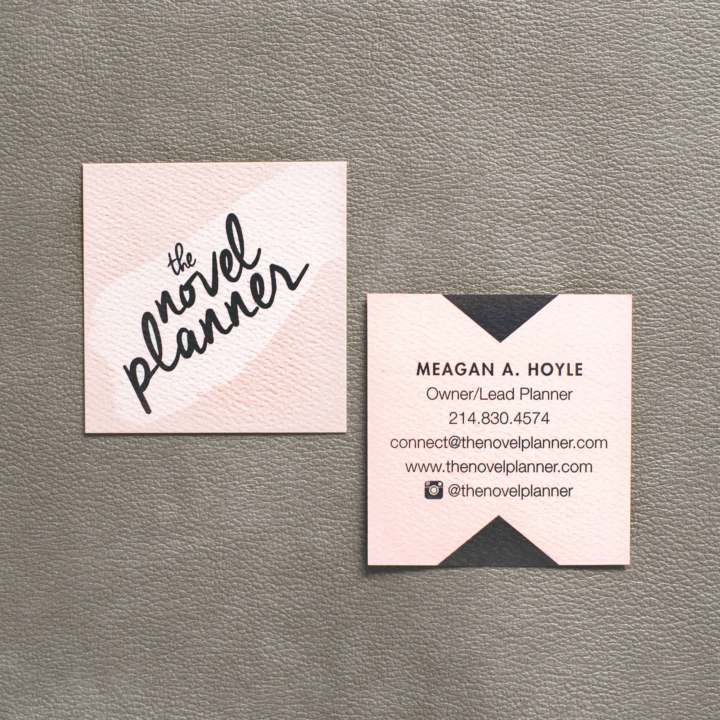 Blush and slate grey square business cards on textured ivory cotton stock, for The Novel Planner.