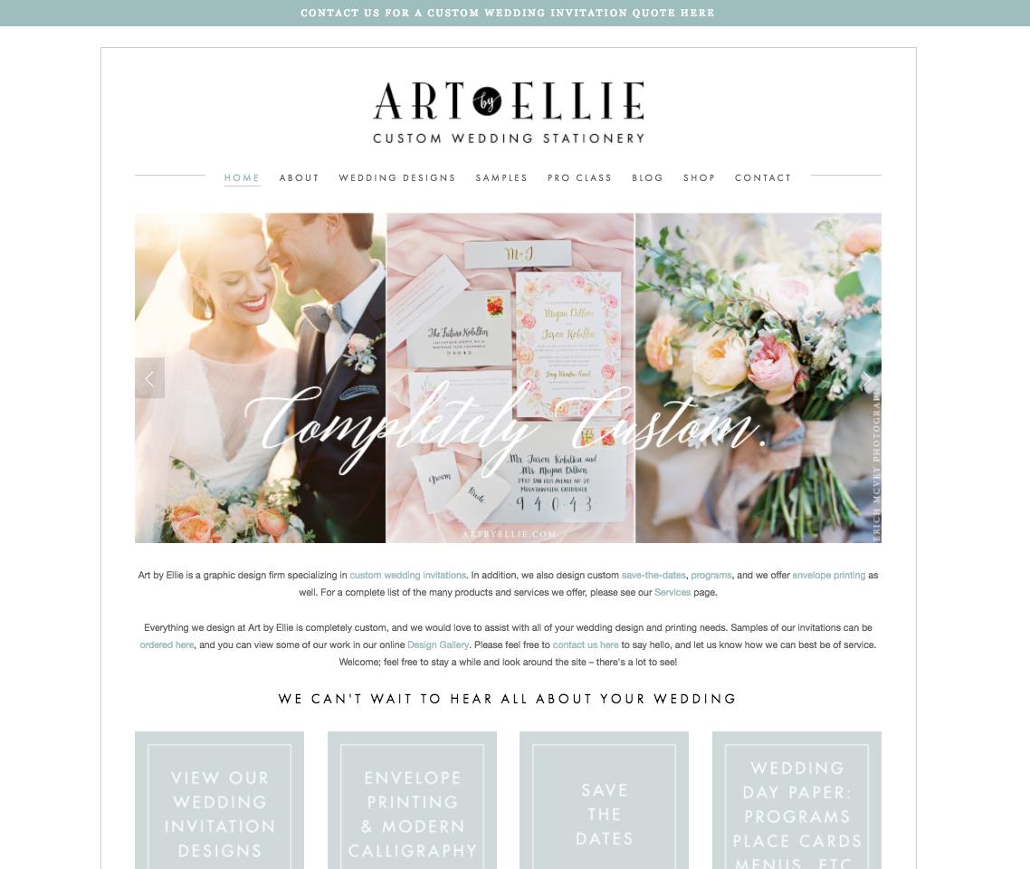 Web design for Art by Ellie
