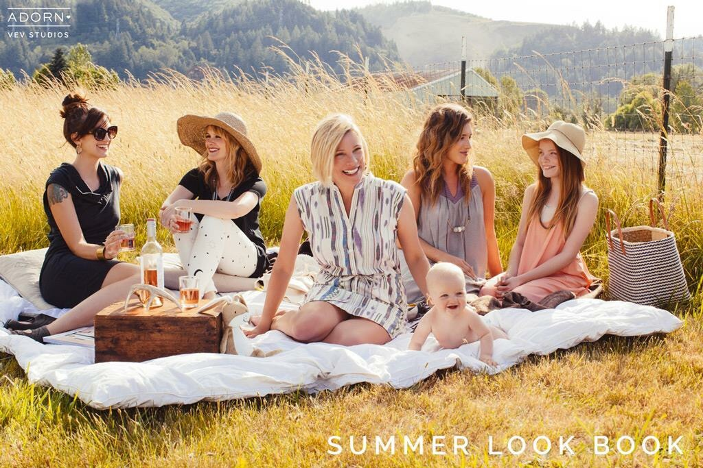 For Picnics and strolls in the summer sun, here are a few wonderful looks for staying effortlessly chic no matter where the summer takes you.  Our Lovely Adorn Women-  Stephanie Maul  Jennie Day Burgett  Jessie Hascall  Kari Olivier  Macy Olivier  Editorial Team-  Photography: Gia Goodrich of VEV Studios  Lead Styling: Nicole Whitesell  Styling: Nicole Boyer & Olivia Goldseth   Makeup: Shauna Smith  Hair: Sadie Tidland  Lovely Assistant: Erin Adams  Location: thecroftfarm.com at Sauvies Island  Special thanks to Vail and Greg for the amazing support and for letting us run around on your beautiful property.